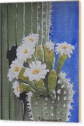 Saguaro Bloom Wood Print by Regina Ammerman
