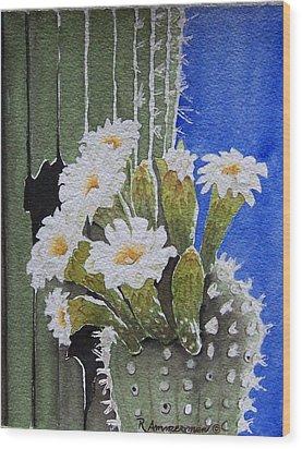 Saguaro Bloom Wood Print by Regina Ammerman