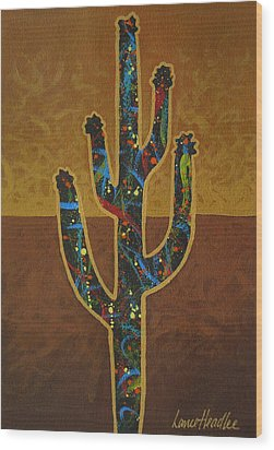 Wood Print featuring the painting Saguaro Gold by Lance Headlee