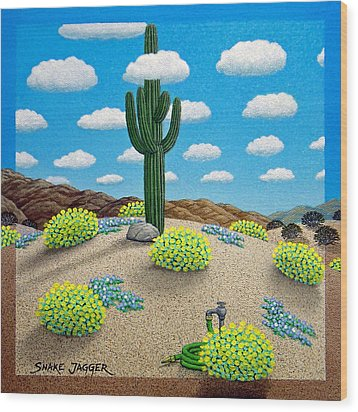 Saguaro Wood Print by Snake Jagger