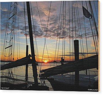 Sail At Sunset Wood Print