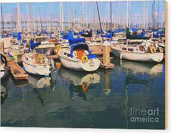 Sail Boats At San Francisco's Pier 42 . Dark Version Wood Print by Wingsdomain Art and Photography