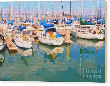 Sail Boats At San Francisco's Pier 42 Wood Print by Wingsdomain Art and Photography