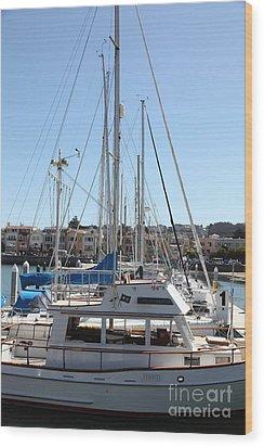 Sail Boats At The San Francisco Marina - 5d18189 Wood Print by Wingsdomain Art and Photography