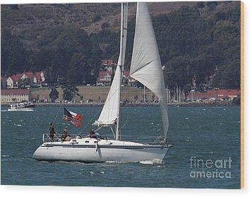 Sail Boats On The San Francisco Bay - 7d18326 Wood Print by Wingsdomain Art and Photography