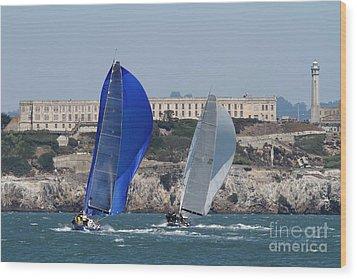 Sail Boats On The San Francisco Bay - 7d18360 Wood Print by Wingsdomain Art and Photography