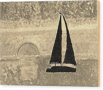 Sail In Sepia Sea Wood Print by Sonali Gangane