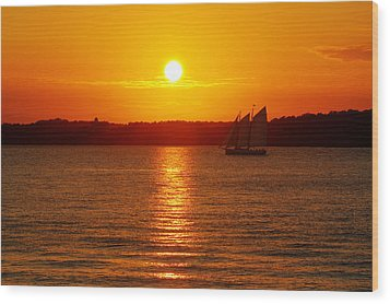 Sail Off Into The Sunset Wood Print by Andrew Pacheco