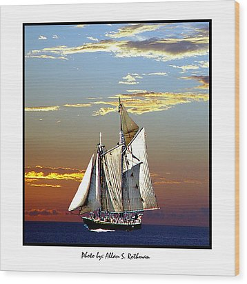 Sailbat At Dusk Wood Print