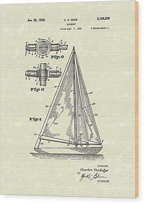 Sailboat 1938 Patent Art Wood Print by Prior Art Design