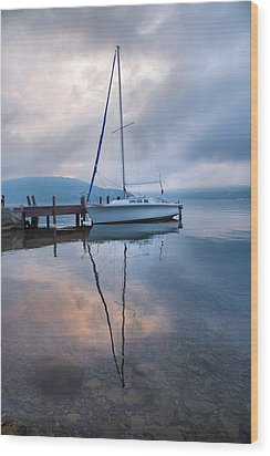 Sailboat And Lake I Wood Print by Steven Ainsworth