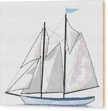 Sailboat  Wood Print by Anne Kitzman