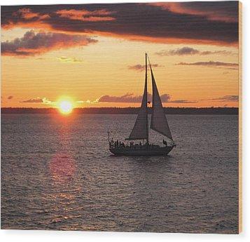 Wood Print featuring the photograph Sailboat At Sunset by Karen Molenaar Terrell