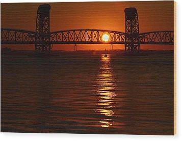 Wood Print featuring the photograph Sailboat Bridges Sunset by Maureen E Ritter