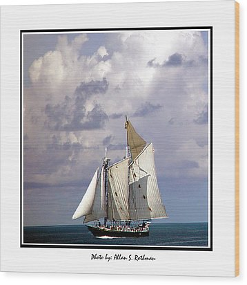 Sailboat Clouds Wood Print