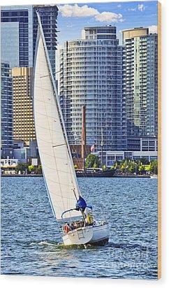Sailboat In Toronto Harbor Wood Print by Elena Elisseeva