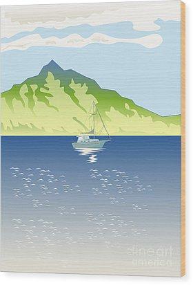 Sailboat Mountains Retro Wood Print by Aloysius Patrimonio