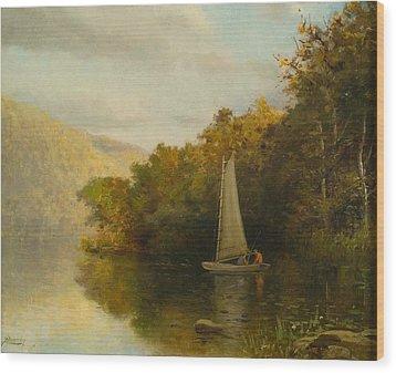 Sailboat On River Wood Print by Arthur Quarterly