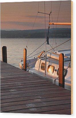 Sailboat Sunrise II Wood Print by Steven Ainsworth