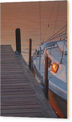 Sailboat Sunrise Wood Print by Steven Ainsworth