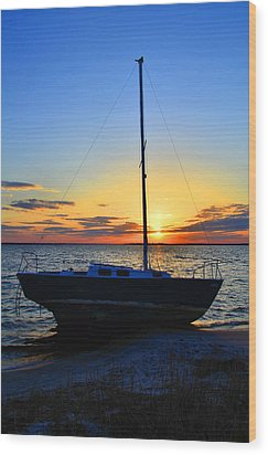 Wood Print featuring the photograph Sailboats And Sunsets by Brian Hughes