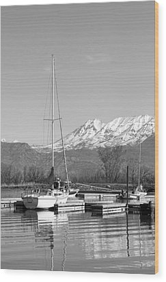 Sailboats At Utah Lake State Park Wood Print by Tracie Kaska