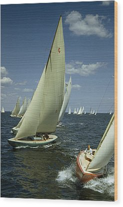 Sailboats Cross A Starting Line Wood Print by B. Anthony Stewart