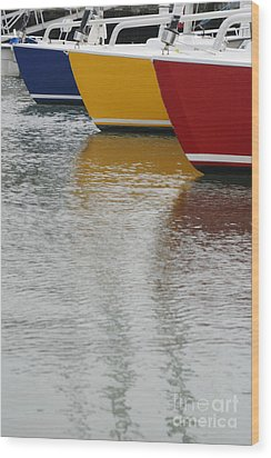 Sailboats In Primary Colors Wood Print by Julie Bostian