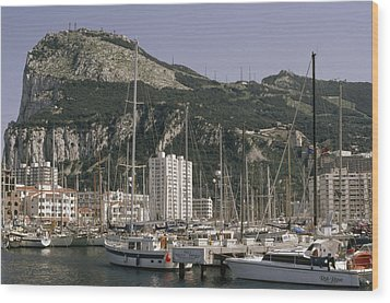 Sailboats Moored In Gibraltar Bay Wood Print by Lynn Abercrombie