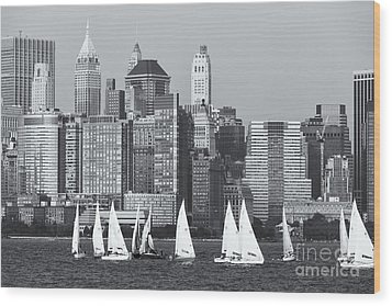 Sailboats On The Hudson V Wood Print by Clarence Holmes