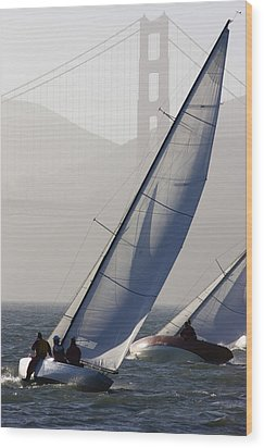 Sailboats Race On San Francisco Bay Wood Print by Skip Brown