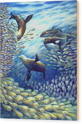 Sailfish Plunders Baitball IIi - Dolphin Fish Seals And Whales Wood Print by Nancy Tilles