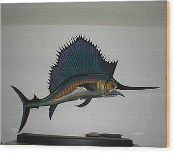 Sailfish Wood Print by Val Oconnor