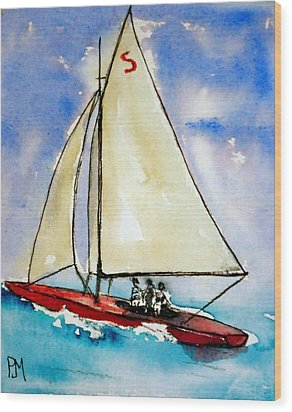 Sailin Wood Print by Pete Maier