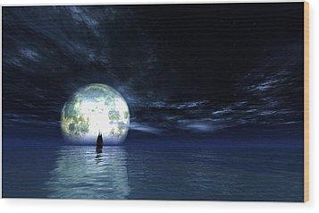 Sailing At Night... Wood Print
