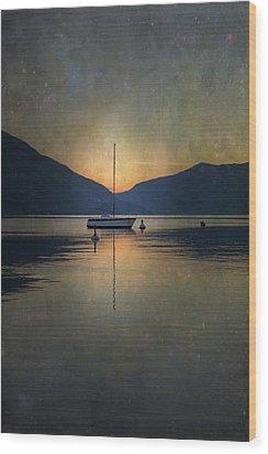 Sailing Boat At Night Wood Print by Joana Kruse