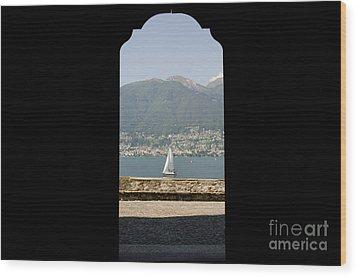 Sailing Boat Through An Open Door Wood Print by Mats Silvan