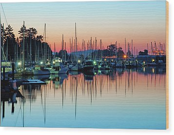 Sailing Boats In Coal Harbour Wood Print by Dean Bouchard (Being There Photography)