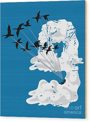 Sailing Cloud Nine Wood Print by Laura Brightwood
