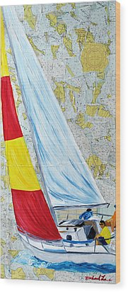 Sailing From The Charts Wood Print by Michael Lee