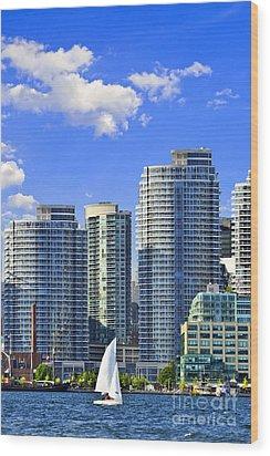 Sailing In Toronto Harbor Wood Print by Elena Elisseeva