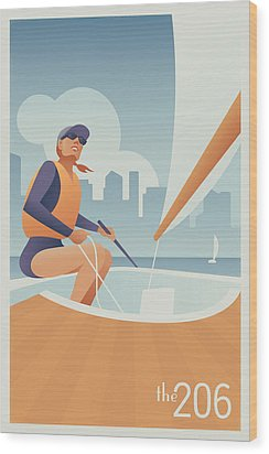 Sailing Lake Union In Seattle Wood Print by Mitch Frey