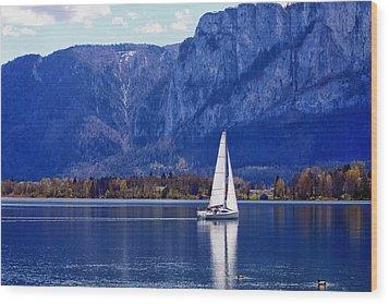 Sailing On Mondsee Lake Wood Print by Lauri Novak