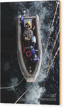 Sailors Conduct A Man Overboard Drill Wood Print by Stocktrek Images