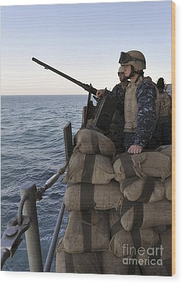 Sailors Stand Small Caliber Attack Team Wood Print by Stocktrek Images