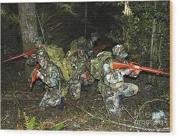 Sailors Take Part In Combat Training Wood Print by Stocktrek Images