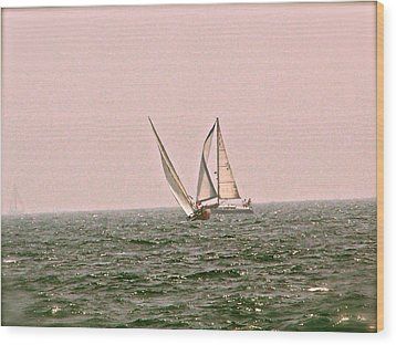 Sails Wood Print by Amber Hennessey