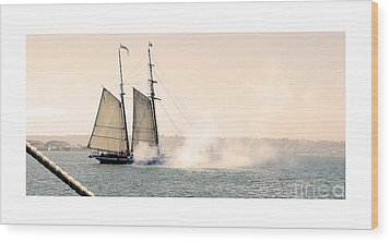 Wood Print featuring the photograph Sails And Cannons by MaryJane Armstrong