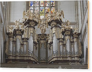 Saint Barbara Church - Organ Loft And Stained Glass In The Churc Wood Print by Michal Boubin