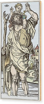 Saint Christopher Carrying Christ Child Wood Print by Sheila Terry